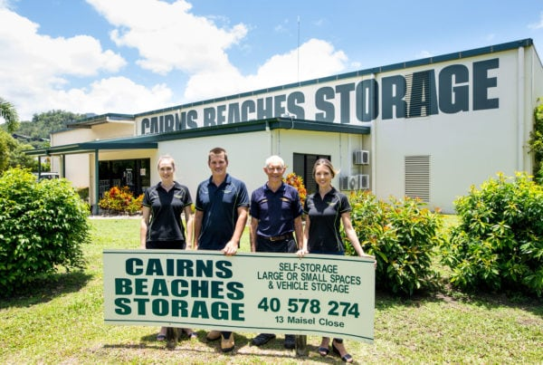 The team standing in front of Cairns Beaches Storage office and and storage units in Cairns