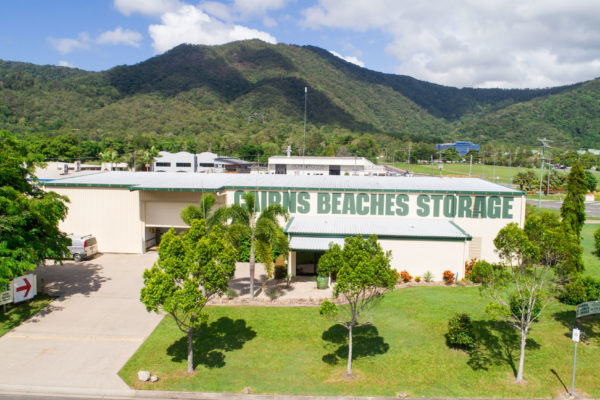 Aerial photo of the Cairns Beaches Storage office and storage units